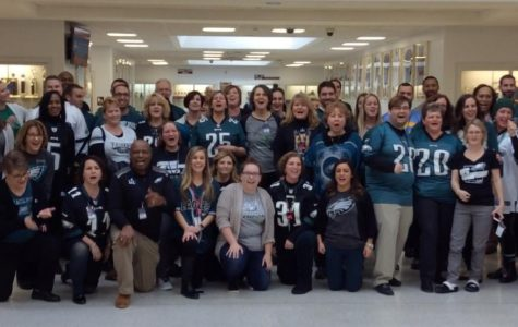 Staff celebrates the Super Bowl