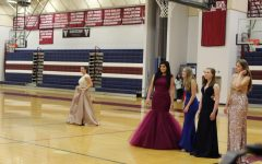 Shopping for prom dresses in Gym 4