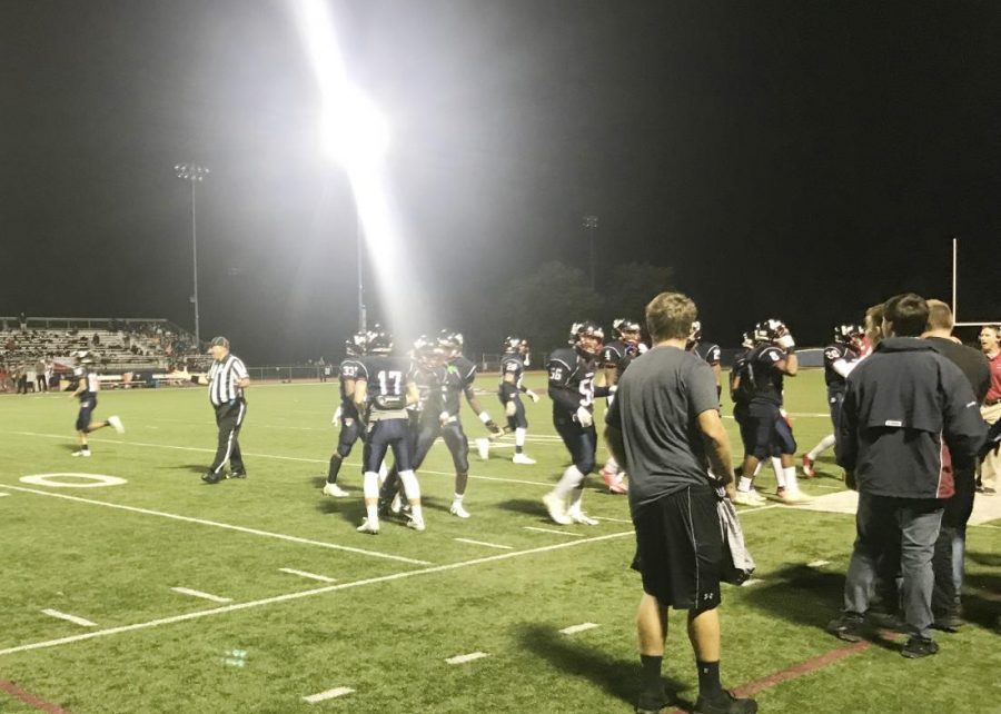 Eastern%27s+varsity+football+team+celebrates+near+the+sideline+following+a+touchdown.+The+Vikings+romped+their+way+to+a+58-6+victory+over+Cherry+Hill+East.