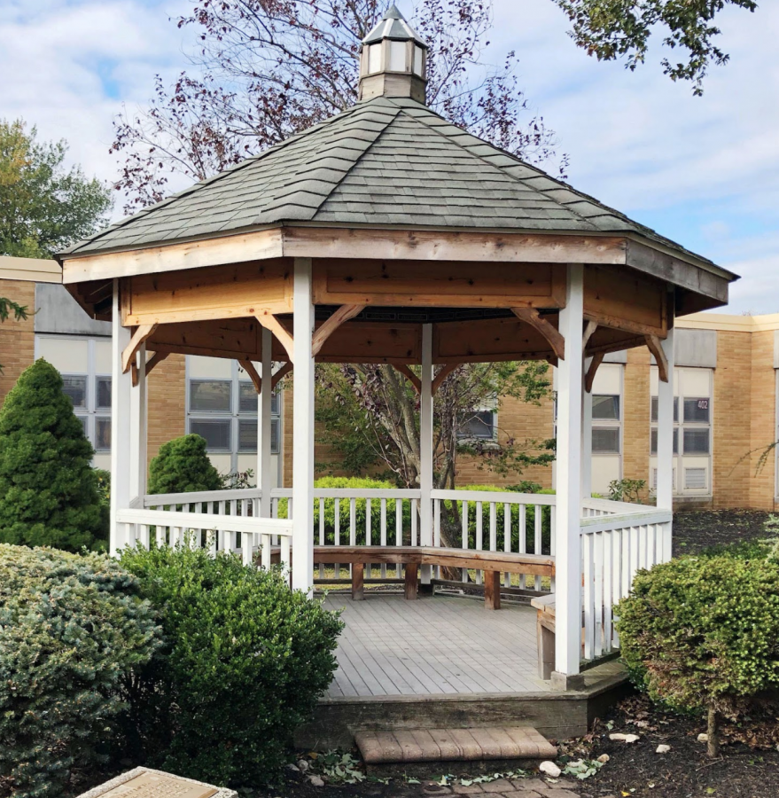 The gazebo is a restful place during a busy day.