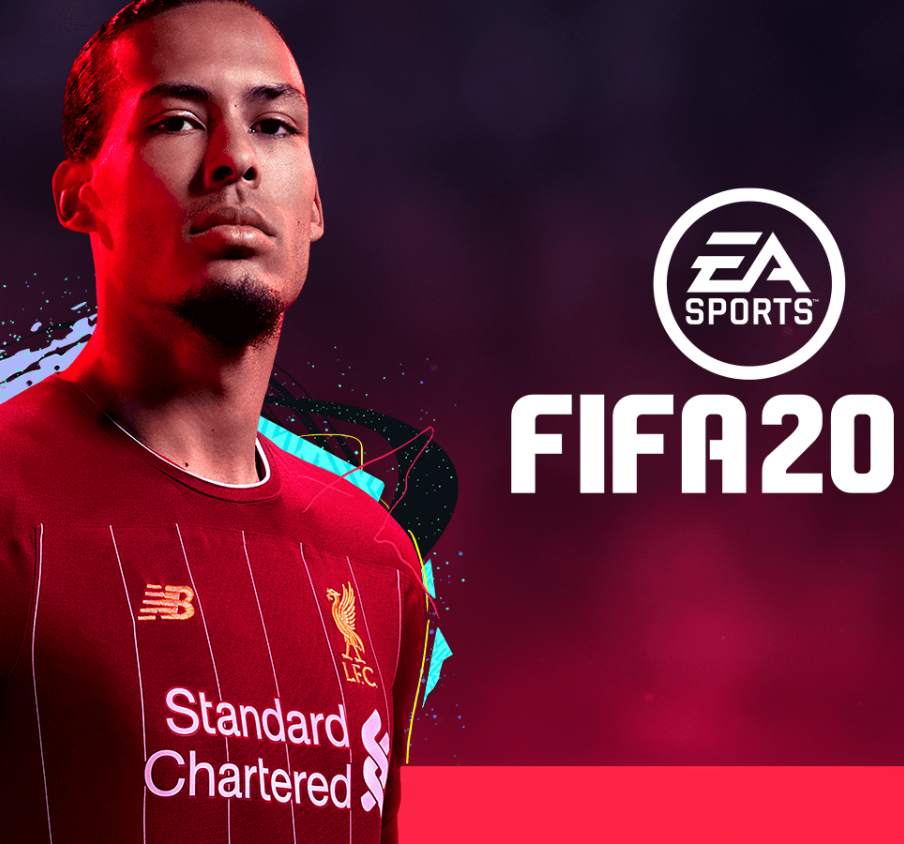 FIFA 20 cover artwork, featuring Liverpool centerback Virgil van Dijk.