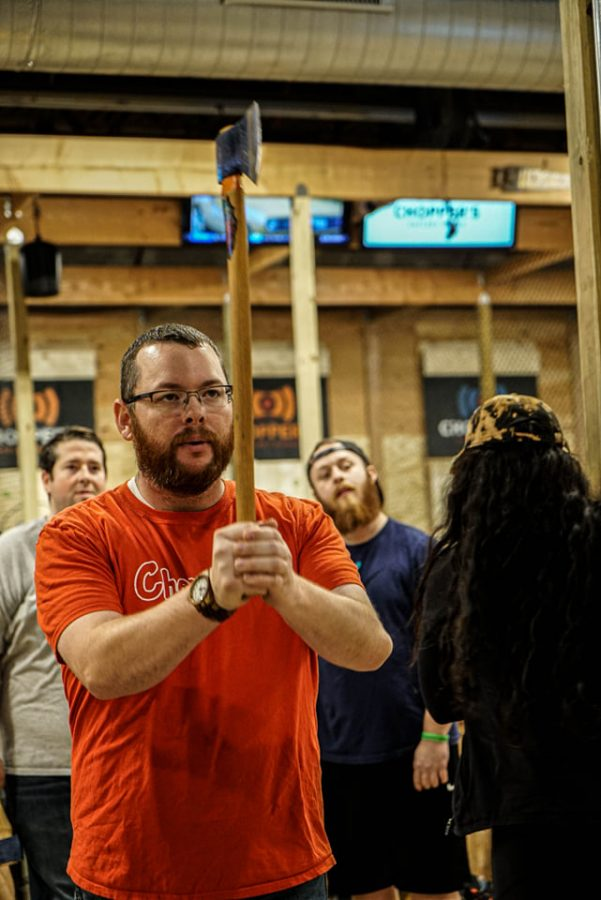 For two years, Mr. Kevin Bradley has been throwing axes as a hobby.