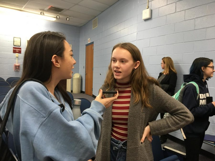 Ava Hancock talks to Kaylee Braidwood after Poetry Out Loud.