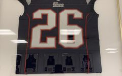 Logan Ryan's Patriots's #26 jersey hangs in the main lobby of his alma mater.