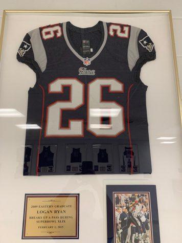 Logan Ryan's Patriots's #26 jersey hangs in the main lobby of his alma mater.