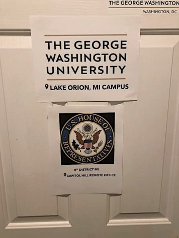 Shannon Wood's mother hung mock signs on  Shannon's bedroom door in Michigan. College is no longer the same, and it seems that the universities understand this. GWU sent one of Wood's friends an internet router because she was unable to access the internet from her home.