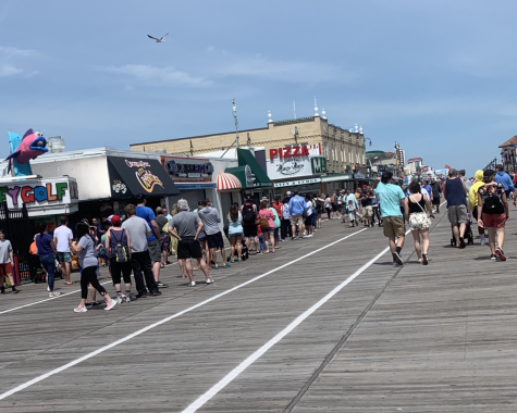 It is Saturday, and Ocean City is packed. It is nice out today, so it is no surprise that people rushed here to escape the confinement of their homes and to pick up some color before summer.