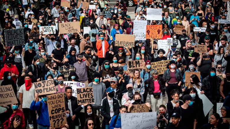Thousands of citizens took to city streets to protest the tragic death of George Floyd. Pictured here is a Vancouver street filled with demonstrators on Sunday, May 31, 2020.