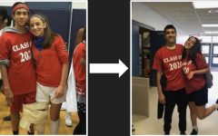 From past to present: Wes Andrews showcases his Class of 2020 pride at Spirit Week with classmate Emma Bitar, as a young freshman (pictured left) and as an accomplished senior (pictured right).