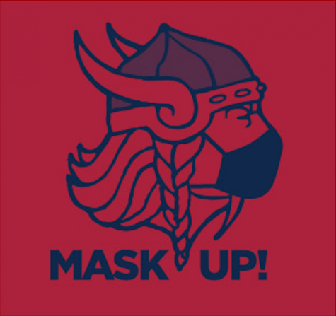In the COVID-altered 2020 season, the Eastern field hockey team wears a masked Viking on their warm-up uniforms.