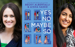 New York Times Bestselling Authors, Becky Albertalli and Aisha Saeed are pictured beside their novel,