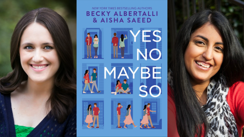"New York Times Bestselling Authors, Becky Albertalli and Aisha Saeed are pictured beside their novel, ""Yes No Maybe So"""