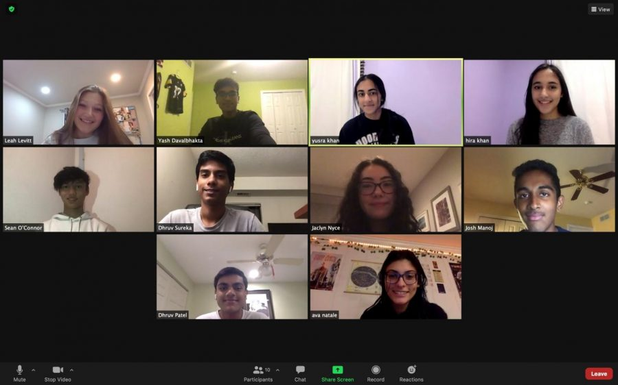 The founders of the Introduction to Medicine club meet over Zoom to discuss their upcoming plans for members.