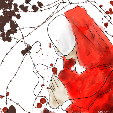 Jae Wells read Atwoods The Handmaids Tale and was inspired to draw this depiction.