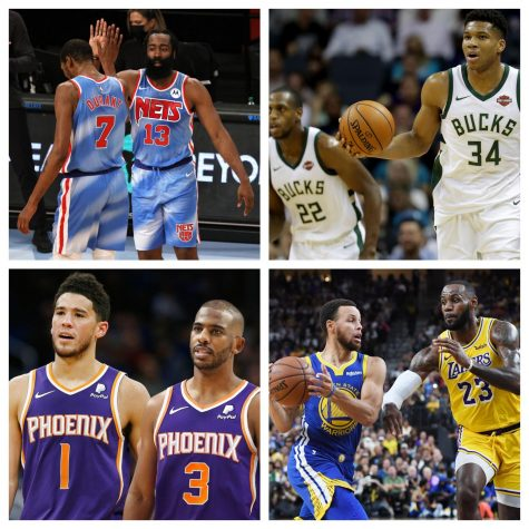 Kevin Durant and James Harden high-five; Giannis Antetokounmpo brings the ball up the court; Devin Booker stands next to Chris Paul; Steph Curry drives in toward the basket on LeBron James.