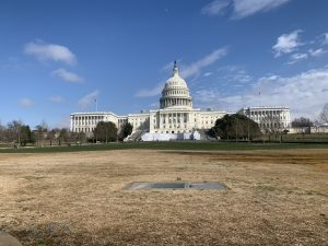 An empty and un-vandalized Capitol Hill stands before yesterday's insurrection.