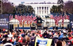 "Then-president Trump delivers his ""Save America"" speech to loyal supporters who showed up at the ""DC Capitol March"" on January 6th, 2021. Shortly after this speech, the violence erupted."