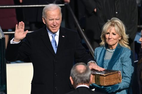 President Biden takes the oath at his inauguration on January 20, 2021.