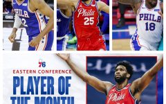 Top: Tobias Harris, Ben Simmons, and Shake Milton. Bottom: Joel Embiid, named NBA Eastern Conference player of the month.