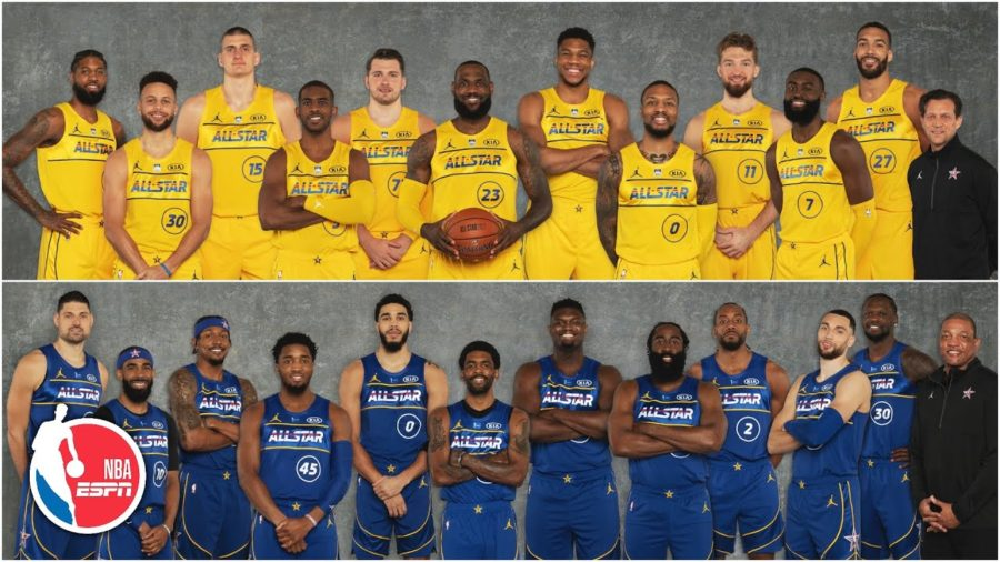 Team LeBron (top) wore yellow jerseys against Team Durant (bottom) who suited up in blue. This year's game was played at State Farm Arena in Atlanta, GA.