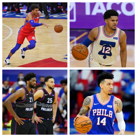 Matisse Thybulle, Tobias Harris, Embiid/Simmons, and Danny Green.