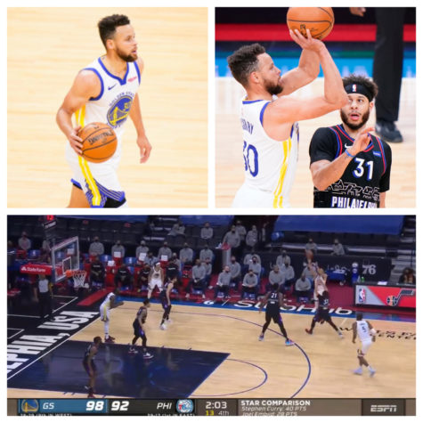 Against the 76ers on April 19, Stephen Curry was frequently defended by his younger brother, Seth Curry, pictured here. Bottom: Curry pulls up to sink a dagger three late in the 4th quarter to bury the Sixers.