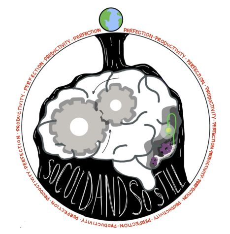 This drawing illustrates the brain surrounded by the pressure of perfection and constant productivity.