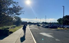 The sun illuminates the sidewalk and the road leading the entrance of the school.