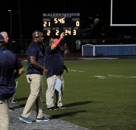 Coach Bolen (left) and Coach Yotsko (right) communicate with the team during the third quarter of their blowout victory against Trenton Central on September 17th, 2021 at McAleer Stadium.